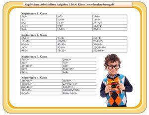 kopfrechnen arbeitsblätter 1. bis 4. Klasse