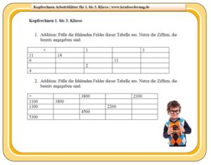 Kopfrechnen Arbeitsblatt 1. bis 3. Klasse