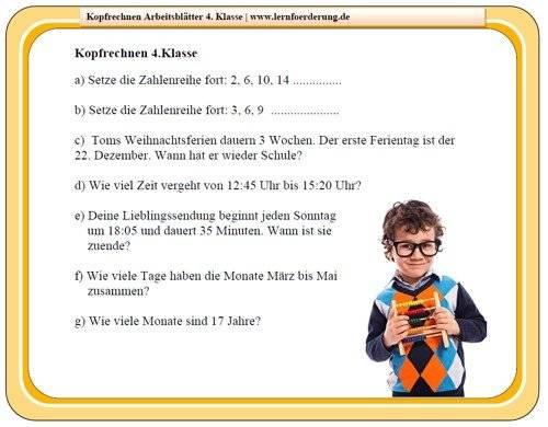 Kopfrechnen Arbeitsblätter kostenlos für die Grundschule