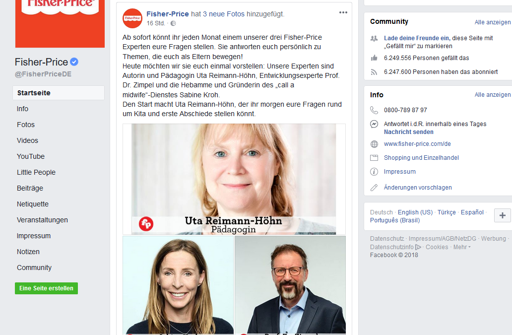 Uta Reimann-Höhn im Fisher-Price Expertenrat: Nächster Termin 5. Juli