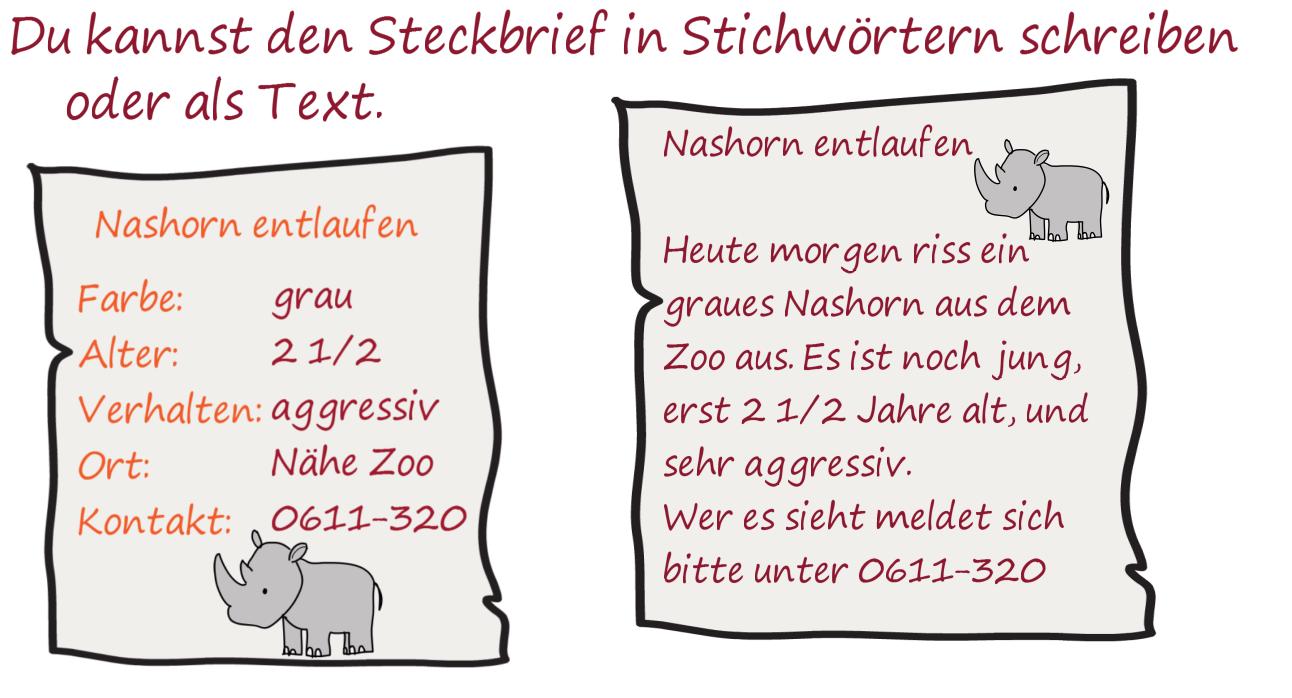Steckbrief schreiben