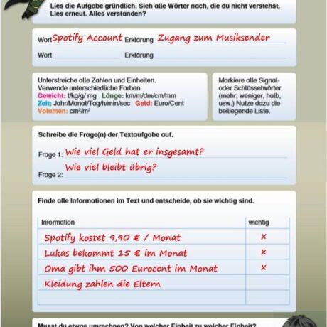 Textaufgaben Schablone Beispiel Seite 1