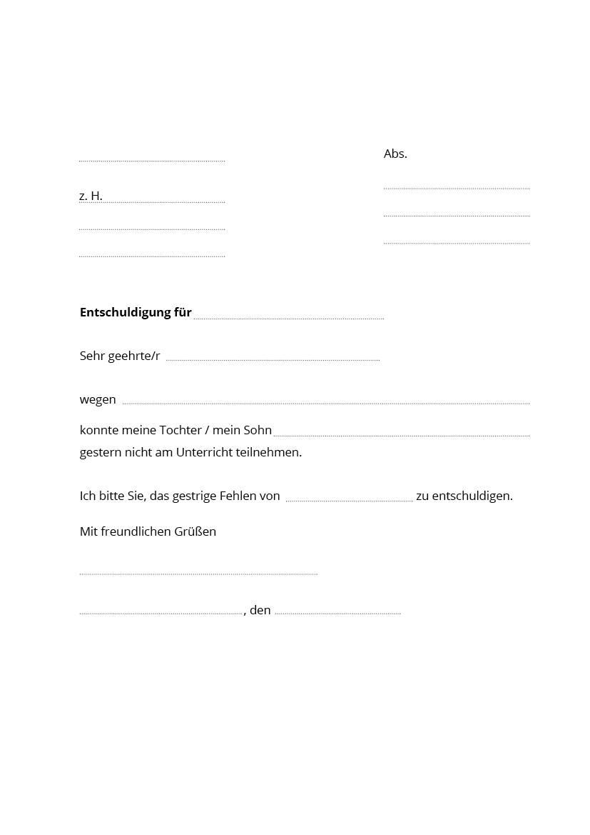 Schreiben die entschuldigung für schule Entschuldigung für