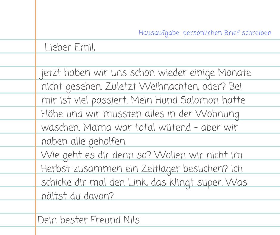Eine brief freundin schreiben an Brief schreiben